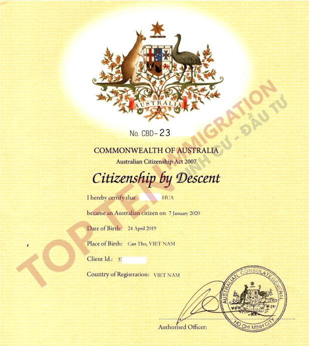 Dịch vụ nhập quốc tịch Úc cho con công dân Úc sinh tại Việt Nam